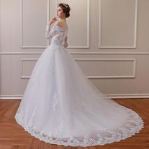 Off Shoulder Long Sleeves Lace Wedding Dress Bridal Gown - $172.50