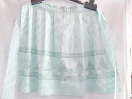 Vintage Apron, Half Hostess, Light Green Gingham, Cross Stitched, Trees,... - $13.32
