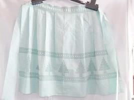 Vintage Apron, Half Hostess, Light Green Gingham, Cross Stitched, Trees,... - $13.32