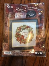 Bucilla Holiday Wreath Peace & Joy Picture With Silk Ribbon Embroidery C... - $14.99