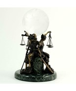 Bey-Berk R61L Three Bronze Seated Lady Justice Ball Holder on Green Marb... - $228.95