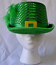 St. Patrick's Day Green Sequin Hat Top Hat Leprechaun Belt Feather NWT - $11.04