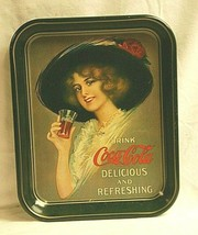 Old Vintage Coca Cola Coke Woman w Hat Coke Glass Litho Tin Metal Servin... - $29.69