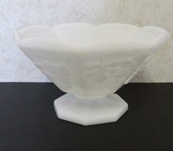 Anchor Hocking White Milk Glass Octagon Pedestal Fruit Bowl Grape & Leaf... - $16.78