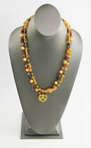 "23"" VINTAGE ESTATE Jewelry DOUBLE STRAND YELLOW GLASS HEART PENDANT NECK... - $35.00"