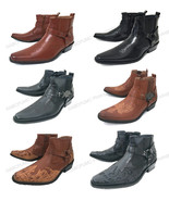Men's Cowboy Boots Western Leather Lined Ankle Harness Strap Zipper Shoe... - $34.54+
