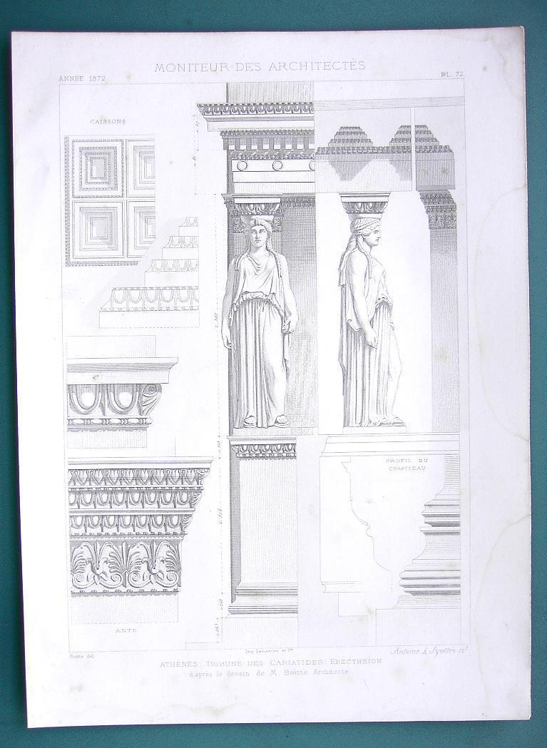 ARCHITECTURE PRINT 1872: GREECE Athens Caryatid on Acropolis Restored View