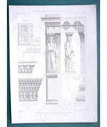 ARCHITECTURE PRINT 1872: GREECE Athens Caryatid on Acropolis Restored View - $18.90