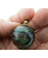 "Vtg Glass Ball Pendant Necklace Asian Scenes Fisherman Huts 1"" Diameter ... - $29.69"
