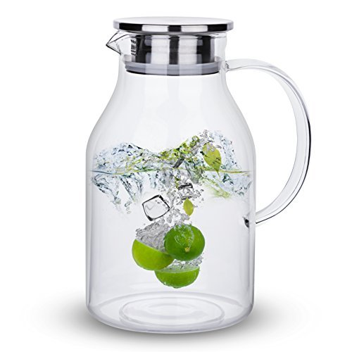 68 Ounces Glass Pitcher with Lid, Water Jug for Hot/Cold Water, Ice Tea and Juic