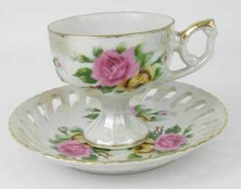Japan Lusterware Pedestal Teacup & Openwork Saucer Pink & Yellow Roses L... - $18.00