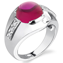 Men's Sterling Silver 7 Carat Lab Created Ruby Ring - $98.99