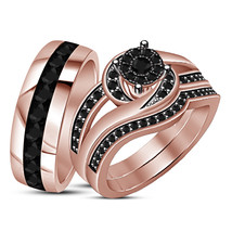 14K Rose Gold Finish Real 925 Silver Diamond Bride & Groom Wedding Trio ... - $152.67