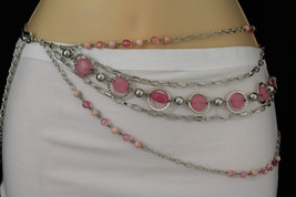 Women Silver Fashion Belt Hip Waist Metal Multi Chain Pink Beads 5 Stran... - $14.69