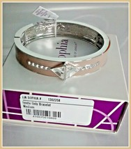 Lia Sophia INVITATION ONLY stretch bracelet neutral taupe silver-tone & crystals - $18.95