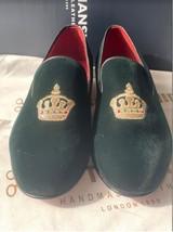 Handmade Men's Green Velvet Embroidered Slip Ons Loafer Shoes image 5