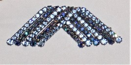 Gorgeous Signed KRAMER Dark & Light Blue Rhinestone Pin Brooch  - $63.26