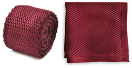 Matching knitted tie and pocket square in plain maroon by Frederick Thomas