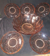 """6 Orange Depression Glass Bowls 5-6"""" Bowls 1- 9"""" Serving Bowl. NICE SET - $48.51"""