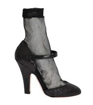 Dolce & Gabbana Women Black Leather Socks Glitter Pumps EU40/US9.5 - $199.96