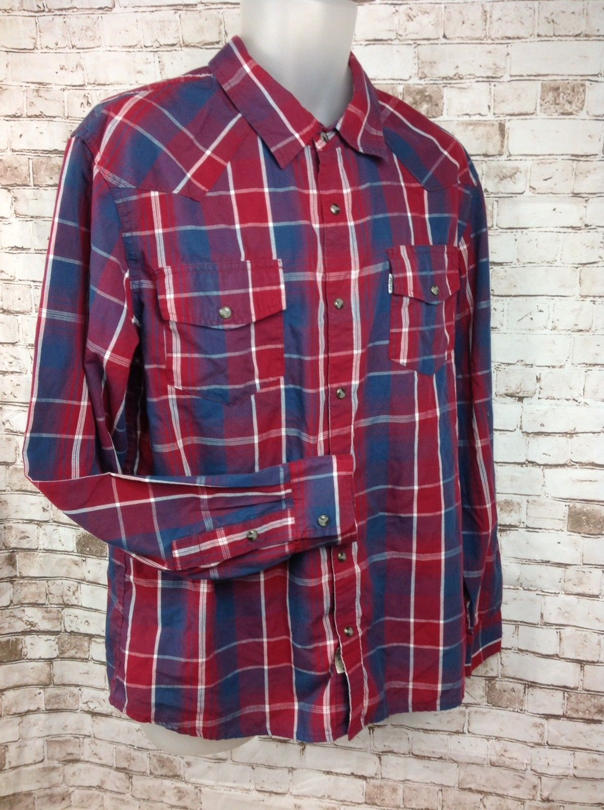 Primary image for Levi's Modern Western Plaid Long Sleeve Pearl Snap Cowboy Red Blue Mens L Shirt