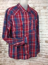 Levi's Modern Western Plaid Long Sleeve Pearl Snap Cowboy Red Blue Mens ... - $24.95
