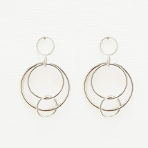 Layered Circle Round Drop Dangle Earrings Brass Silver Tone Fashion Item... - $17.75
