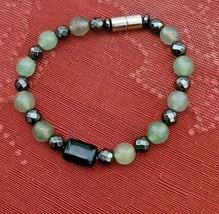 "Hematite & Agate Bracelet Magnetic Hematite Clasp Single Strand 7"" MAG-036 image 2"