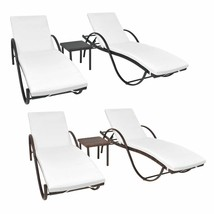 vidaXL Patio Sunloungers w/ Table 5 Piece Poly Rattan Brown/Black Garden... - $288.99