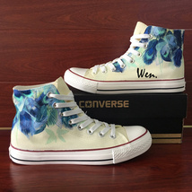 Peacock Feather Design Hand Painted Canvas Shoes Converse All Star Sneakers - $155.00