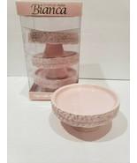 NEW American Atelier Bianca Pink Pedestal Cupcake Plates Holders Set of 4 - $28.99