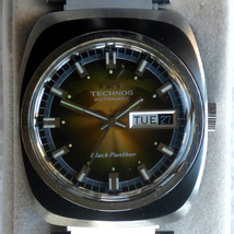 Rare Technos Watch, Black Panther Captain 1960's - $294.00