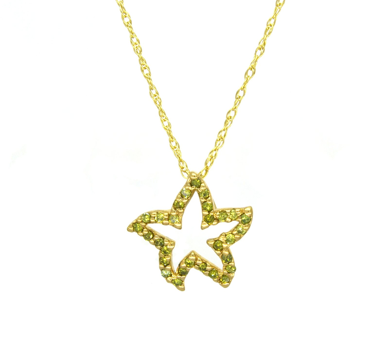 10 K Yellow Gold Genuine Peridot Starfish Pendant with Cable Chain