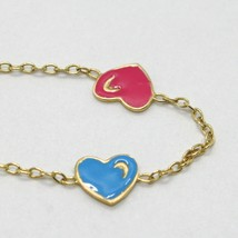 18K YELLOW GOLD BRACELET FOR KIDS WITH ENAMELLED HEART LOVE MADE IN ITALY  image 2