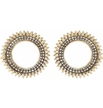 Round Classy Flower Indian Fashion Bollywood Classy Golden Ethnic Studs ... - €5,09 EUR