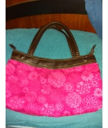 Thirty One pink floral canvas handbag shoulder bag with brown faux leath... - $19.00