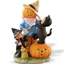 Lenox Halloween Pumpkin Head Scarecrow Figurine Black Cat Witch Decorati... - $47.50