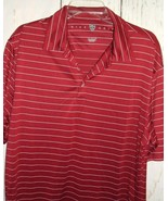 Mens Maroon Striped Nike Golf Fit Dry Poly Short sleeve Athletic Polo Sh... - $11.85