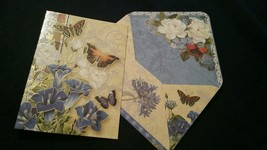 1-Punch Studio gold emboss butterfly/morning glories card-WOW envelope-NLW - $3.15