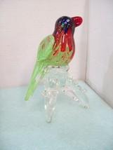 """10"""" Tall Blown Glass Hand Made Bird Parrot on Tree Branch J5 - $49.45"""