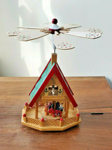 "Christmas Nativity Scene Wooden Windmill Carousel 13"" High - $39.55"