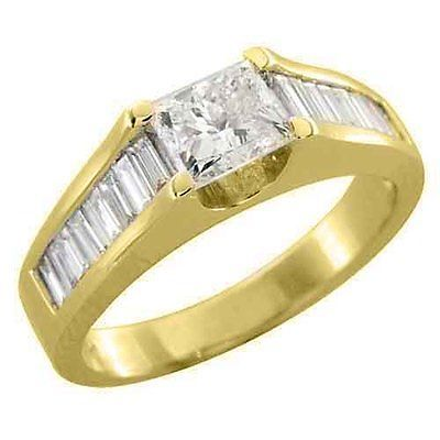 Primary image for 1.71CT WOMENS DIAMOND ENGAGEMENT WEDDING RING PRINCESS BAGUETTE CUT YELLOW GOLD