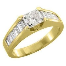 1.71CT Womens Diamond Engagement Wedding Ring Princess Baguette Cut Yellow Gold - £2,901.21 GBP