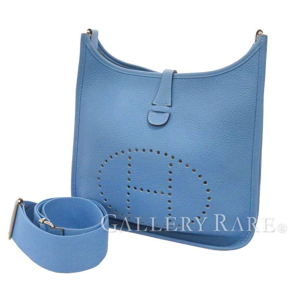HERMES Evelyne 3 PM Taurillon Clemence Bleu Paradis Shoulder Bag #R Authentic