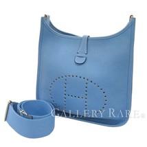 HERMES Evelyne 3 PM Taurillon Clemence Bleu Paradis Shoulder Bag #R Auth... - $1,957.12
