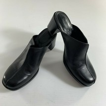 Clarks Womens Mules Shoes Size 7 M Black Leather Clogs 74485 Slip On Heeled - $28.71