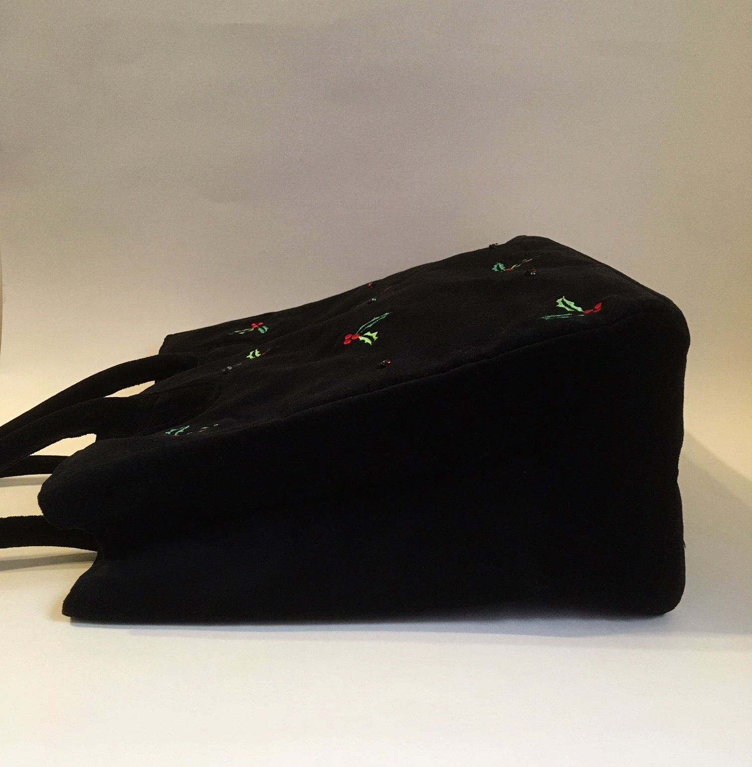 Holly Berry Purse Black Velour Handbag Tote Embroidered Red Green Christmas