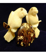 Vegetables Ivory Carvings,2Parrots,sitting on a branch& Ivory Palm Nut,V... - $98.00