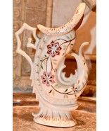 "ANTIQUE 8.25""H AESTHETIC PERIOD VASE CERAMIC MARKED 55 DOLPHIN FLORAL NAUTICAL - $109.99"