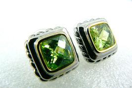 Silver tone Faceted Green Peridot CZ Cubic Zirconia stud earrings $0 sh new image 3